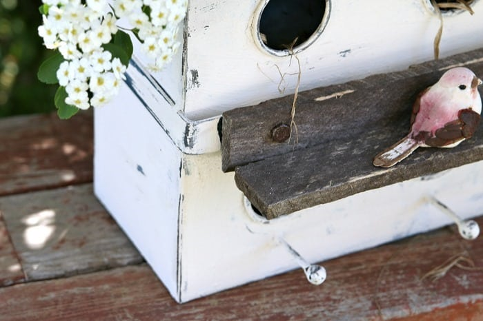 rustic white birdhouse diy paint finish