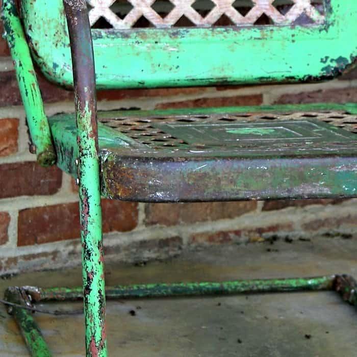 preserve rusty patina on metal furniture