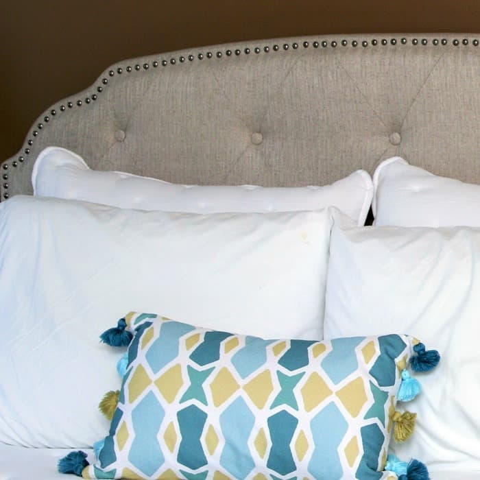 At Home Store Upholstered Headboard Is Easy For One Person To Set Up