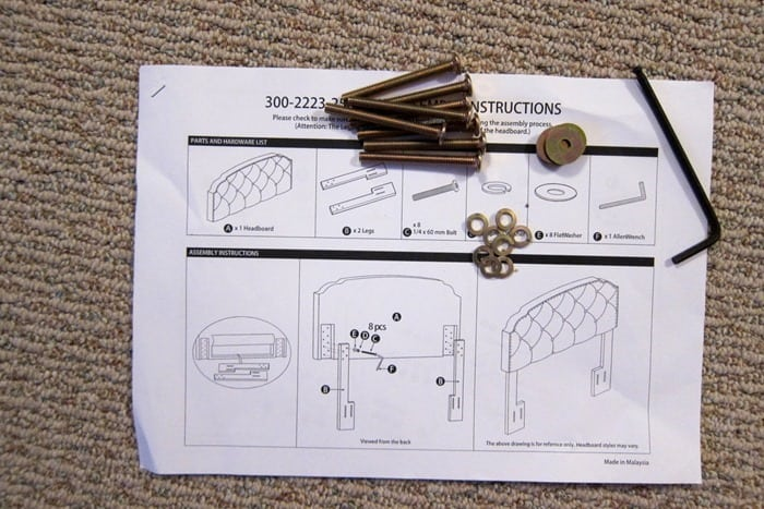 headboard parts and instructions for attaching the legs