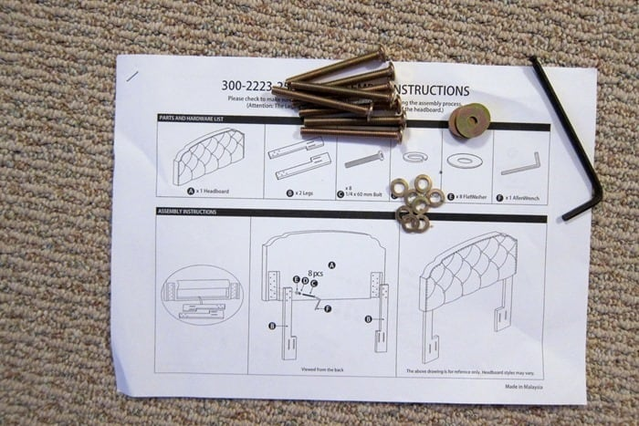 instructions for putting the legs on a headboard