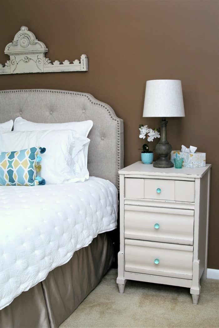 master bedroom makeover with painted walls and painted furniture