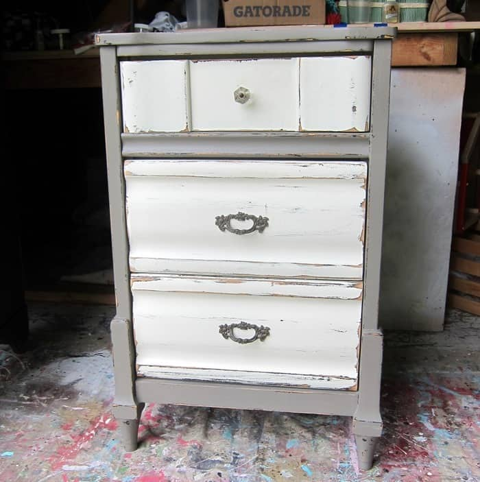 painted nightstand to repaint for the bedroom