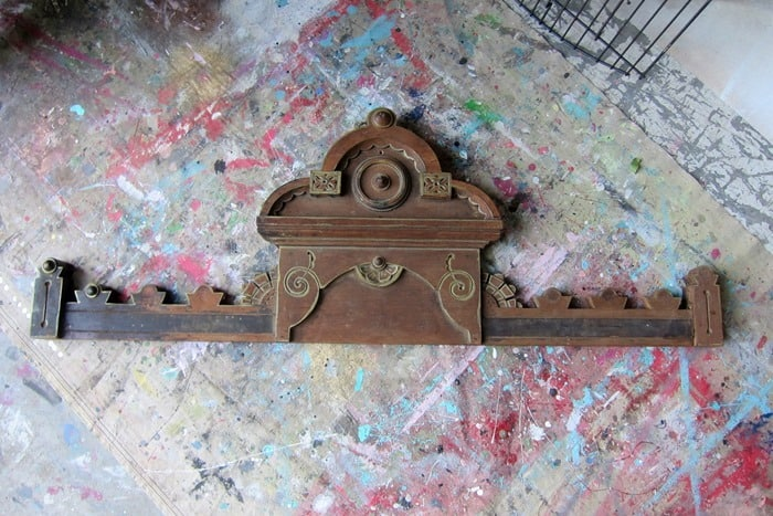 reclaimed wood trim from antique dresser