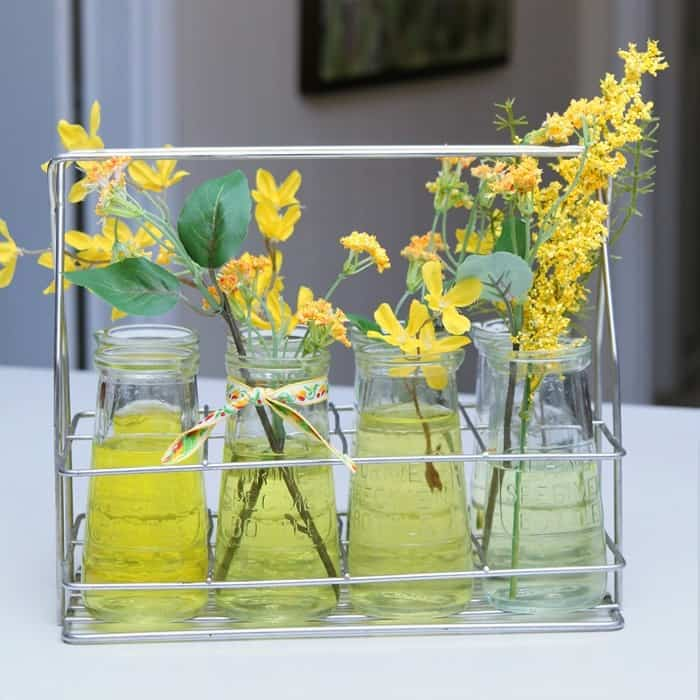 recycle old bottles into pretty vases