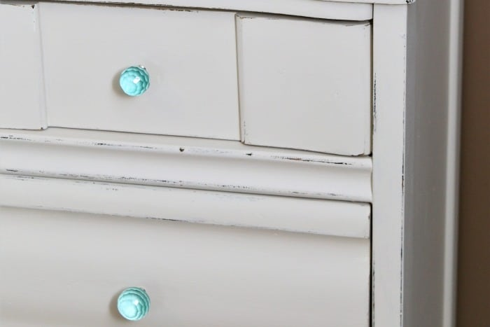 turquoise knobs from Hobby Lobby on white painted furniture