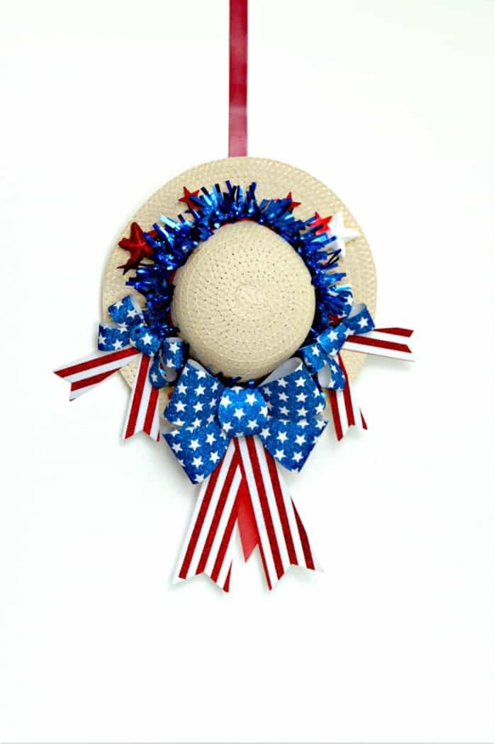 Red White And Blue Summer Hat Wreath Hanging on the door