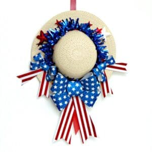 red white and blue Summer Hat Wreath