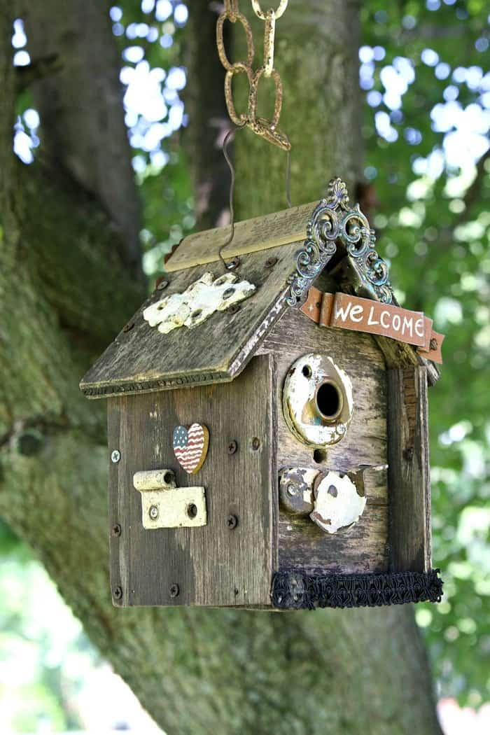 Update An Old Birdhouse With Vintage Hardware And Bits Of Jewelry