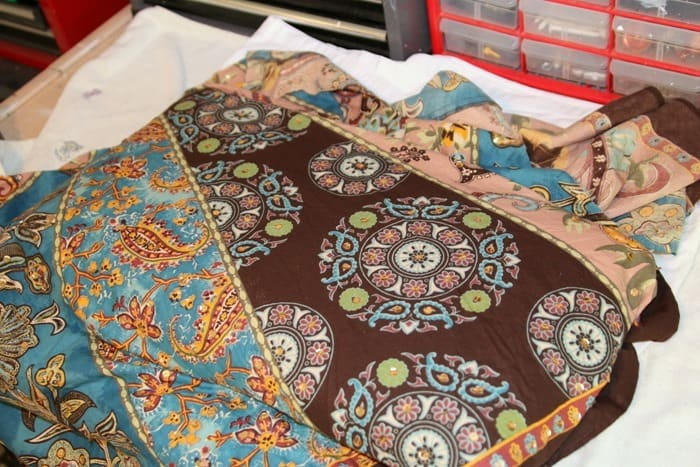 centering the fabric design before recovering a fabric bench seat