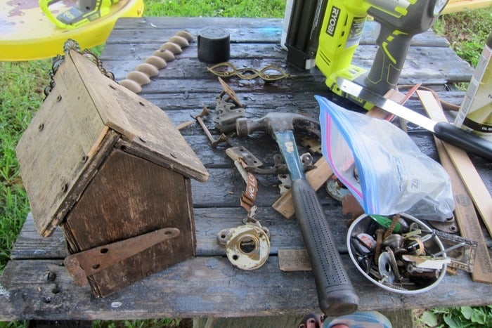finding hardware and rusty treasures to decorate a wood birdhouse