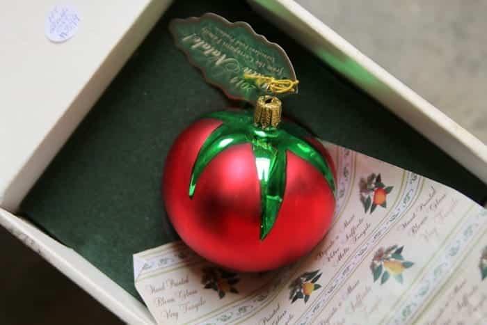 glass tomato ornament
