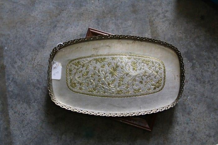 gold tone vintage vanity tray