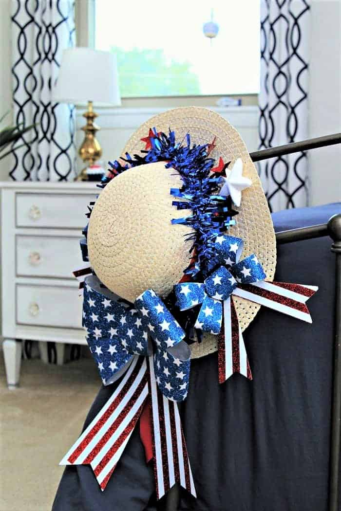 patriotic door decor in red white and blue