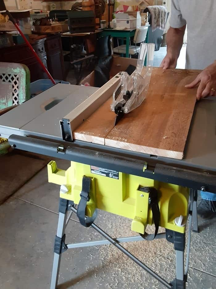 using a table saw to cut reclaimed wood