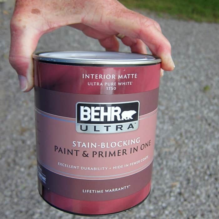 Behr Ultra paint mixed in a custom color latex paint for bedroom furniture