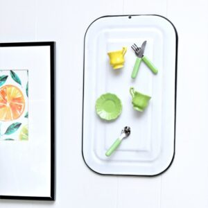 how to make an enamelware magnet board with miniature tea cup magnets