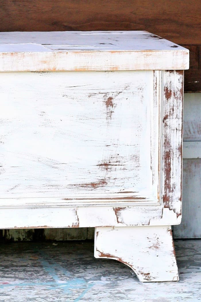 Lane Cedar Chest with distressed paint