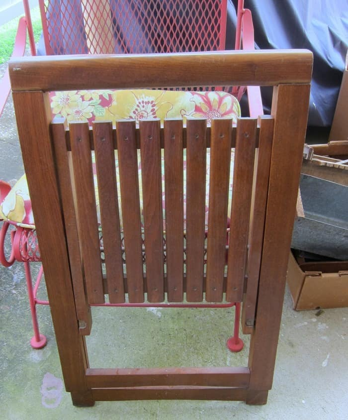 folding wood chair bought at the weekly auction