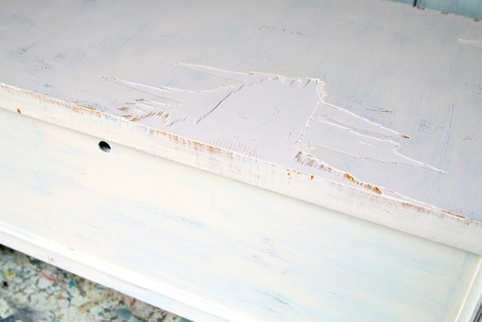 how to paint furniture with missing veneer