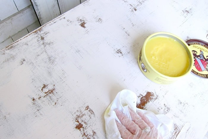how to wax distressed latex painted furniture