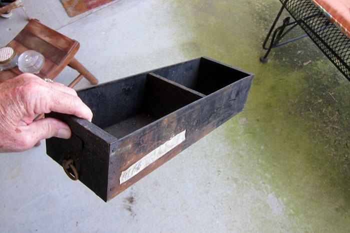 metal and wood box similar to a find from flea market shopping