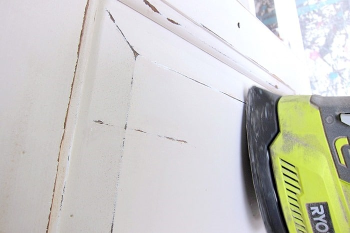 sanding furniture with a battery operated power sander means no cords to deal with