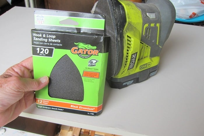 sandpaper and a battery powered sander