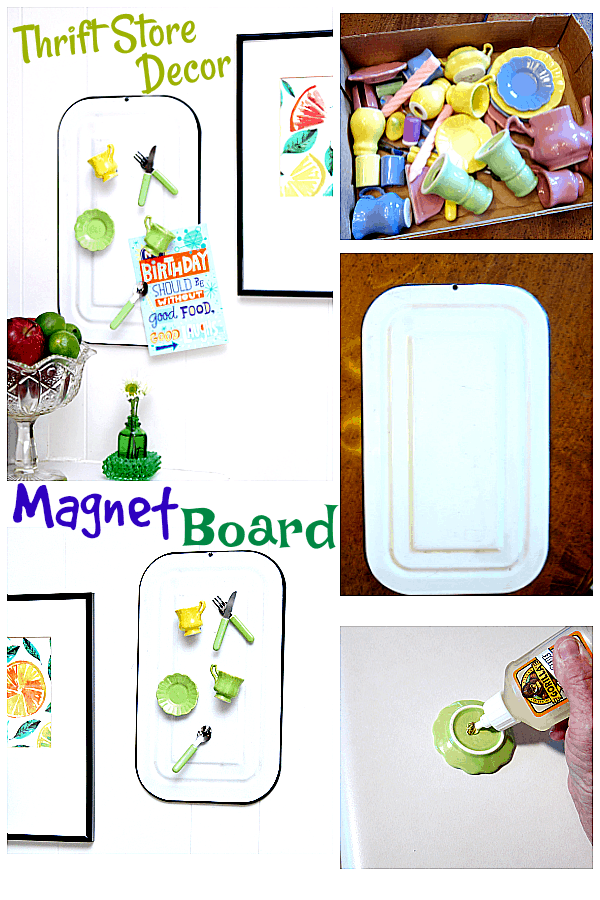 Enamelware Magnet Board. Turn thrift store finds into awesome home decor.