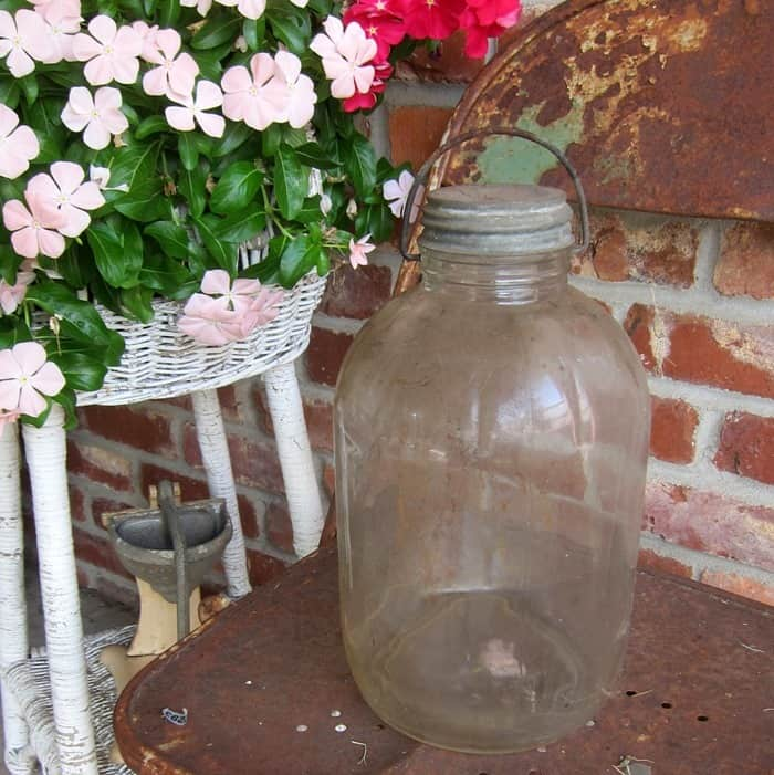 vintage gallon jar with metal Ball lid