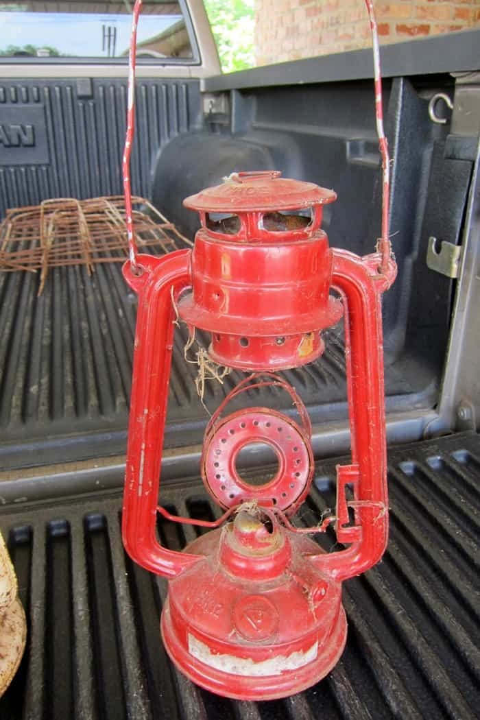 vintage red lantern purchased at an auction