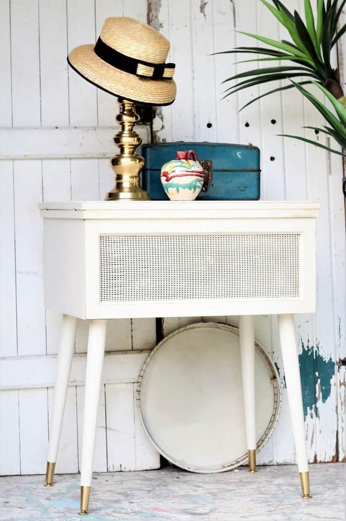 Painting Mid Century Modern Furniture White & Metallic Gold