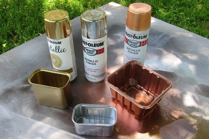 Rustoleum Metallic Spray Paint Colors look great sprayed on recycled food containers used as succulent planters