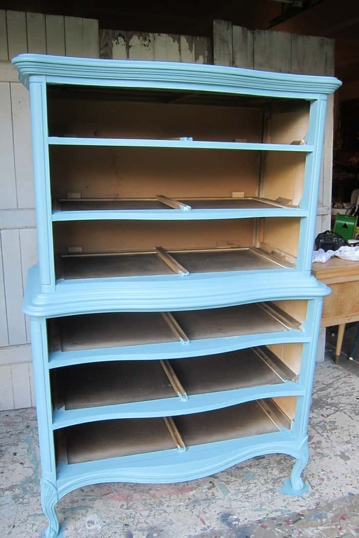 one coat of blue paint on furniture