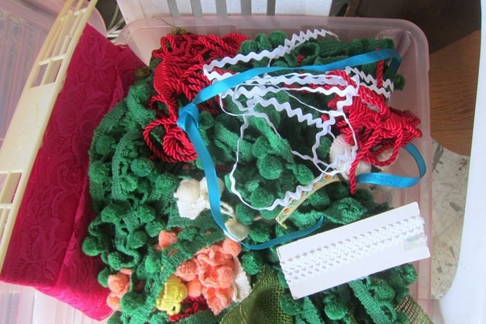 ribbon and pom poms for decorating burlap bags