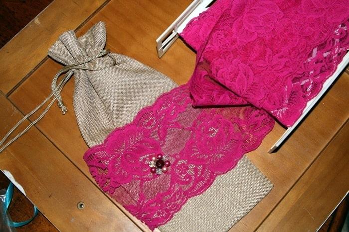 ribbon decorated burlap bag