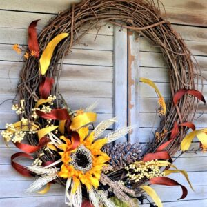 how to make a Fall Sunflower Grapevine Wreath