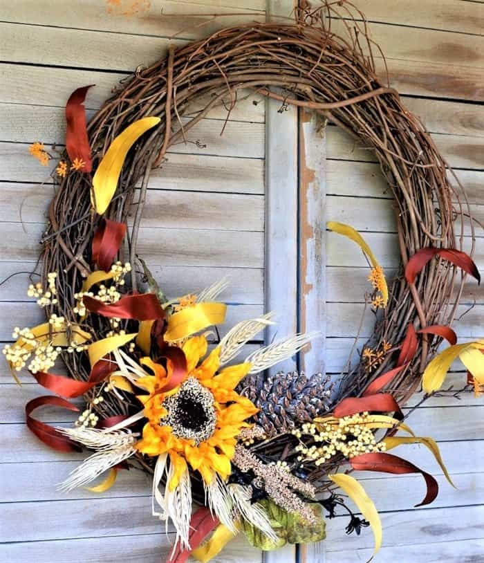 Colors Of Fall Sunflower Grapevine Wreath