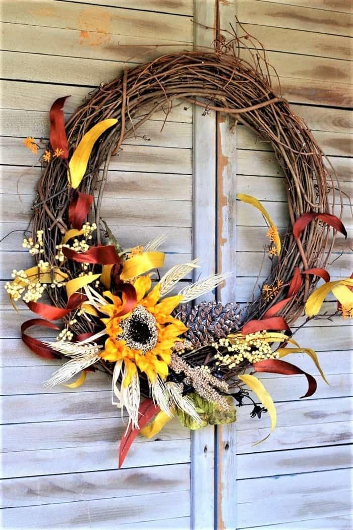 DIY Front Door Wreath, Colors Of Fall Sunflower Wreath