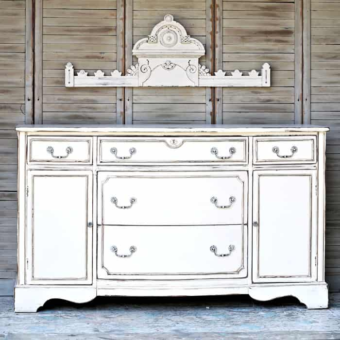 Distressed antique white furniture