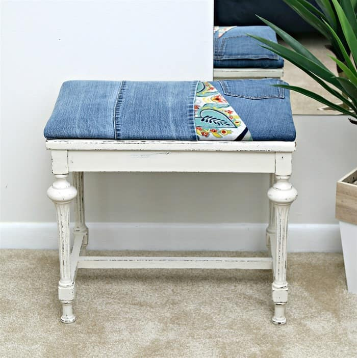 Recover A Fabric Seat With Recycled Denim Jeans