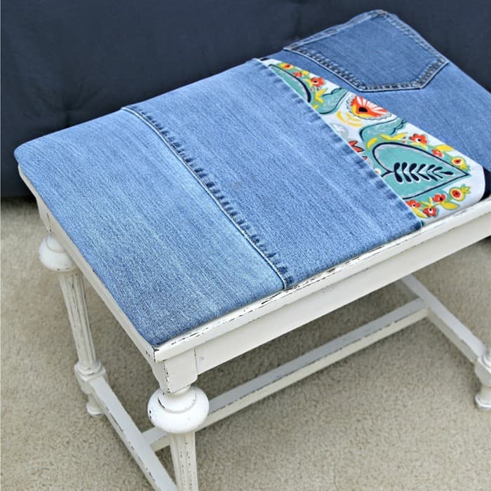 Recover A Stool Seat With Recycled Denim Jeans