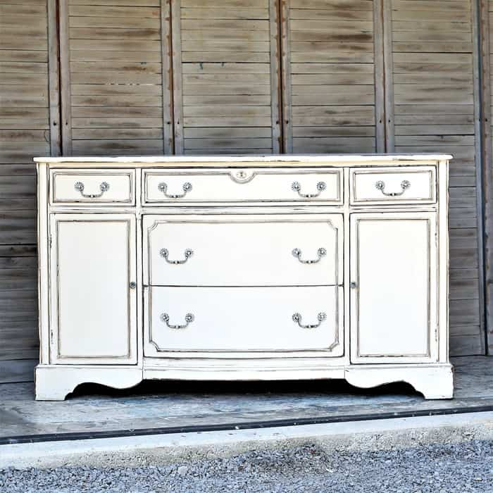 antique white buffet or sideboard for dining room or entertainment center