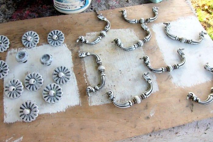 dry brush furniture hardware white