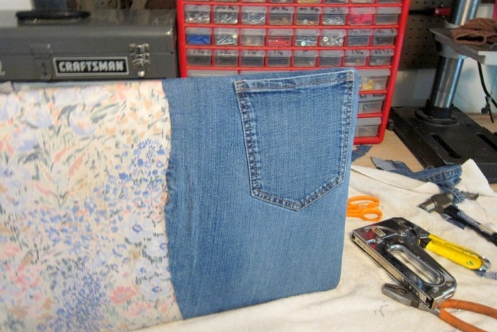 how the first layer of denim looks after stapling to seat