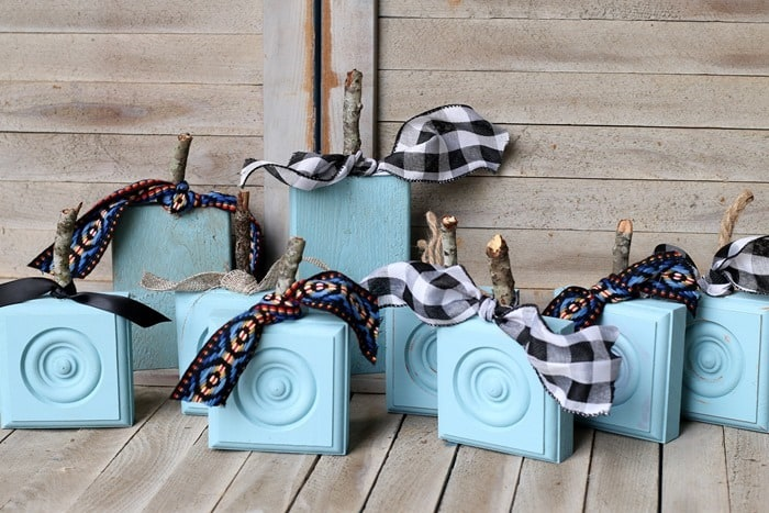 how to make turquoise wood rosette block pumpkins
