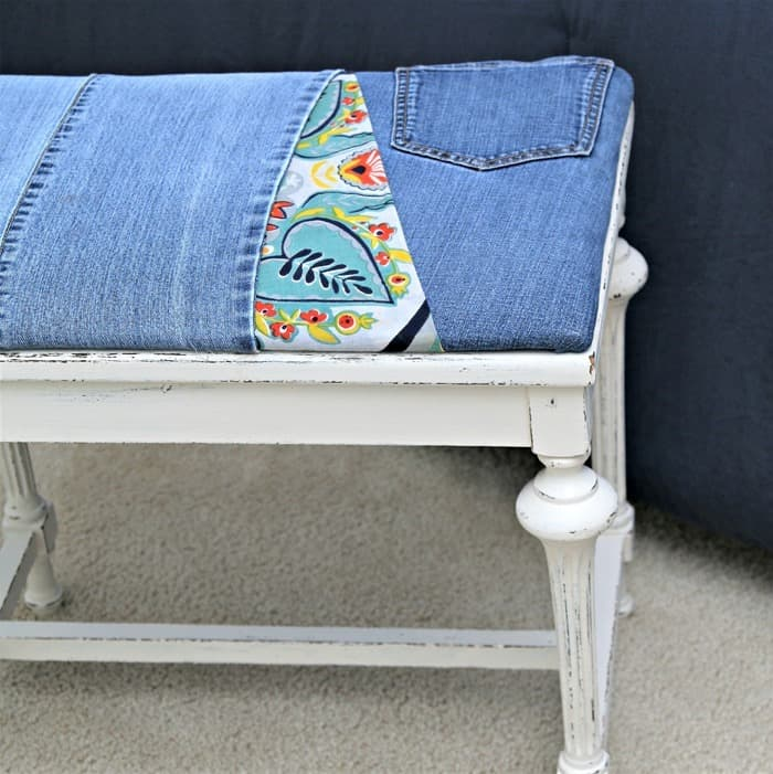 how to re-cover a stool seat wth recycled denim and colorful fabric
