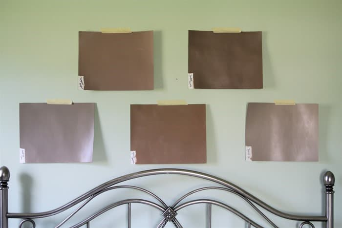 make paint sample boards and tape them to the wall when selecting paint colors