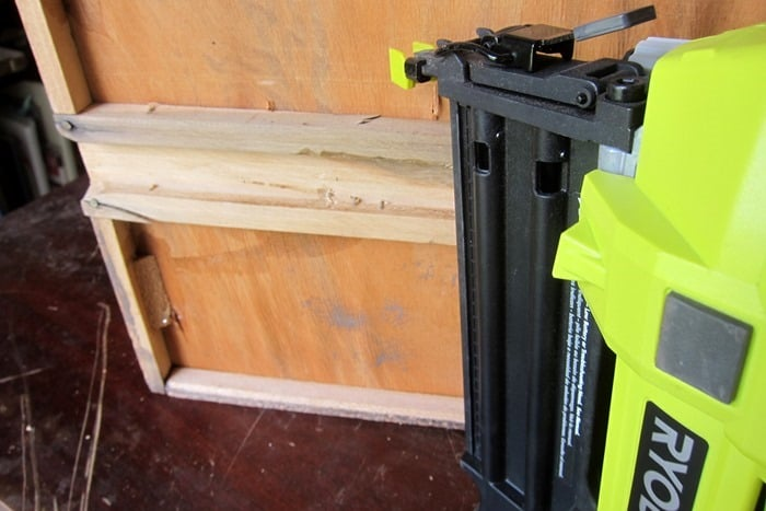nailing the drawer runner to the drawer bottom