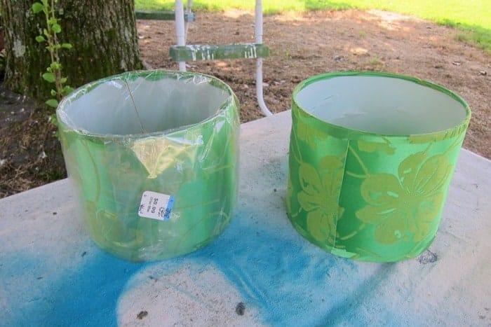 pair of small green lampshades